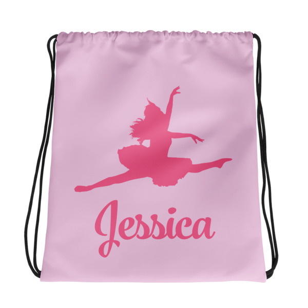 ca55a68066e6f2 Leaping Ballerina Personalized Drawstring Bag